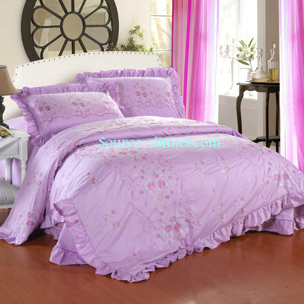 Elegant Light Purple Tone 4 Piece Embroidered Cotton King Bedding Set  $159.99